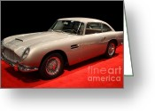 British Classic Cars Greeting Cards - Aston Martin DB5 Front Angle Greeting Card by Wingsdomain Art and Photography