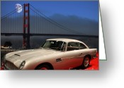 Transportation Digital Art Greeting Cards - Aston Martin DB5 Under The Golden Gate Moon Greeting Card by Wingsdomain Art and Photography