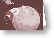Saturn Greeting Cards - Astronaut Landing On Moon retro Greeting Card by Aloysius Patrimonio