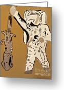 Tom Evans Greeting Cards - Astronaut Squid Greeting Card by Tom Evans