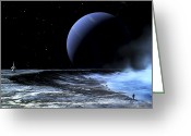 Spacecraft Greeting Cards - Astronaut Standing On The Edge Greeting Card by Frank Hettick