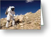 Desert Rats Greeting Cards - Astronaut Stands Beside A Core Sampling Greeting Card by Stocktrek Images
