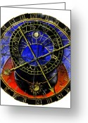 Astronomical Digital Art Greeting Cards - Astronomical Clock In Grunge Style Greeting Card by Michal Boubin