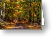 Red Autumn Trees Greeting Cards - At a loss for words Greeting Card by Robert Pearson
