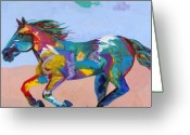 Wild Horse Painting Greeting Cards - At Full Gallop Greeting Card by Tracy Miller