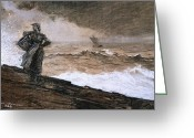 Crashing Waves Greeting Cards - At High Sea Greeting Card by Winslow Homer