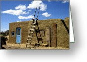 Taos Pueblo Greeting Cards - At Home Taos Pueblo Greeting Card by Kurt Van Wagner
