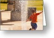 Kids At Play Greeting Cards - At Play By The Fountain Greeting Card by Joshua Barneck
