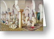 Rugs Greeting Cards - At Prayer in the Mosque Greeting Card by Filipo Bartolini or Frederico