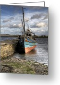 Fishing Boat Greeting Cards - At rest Greeting Card by Marion Galt