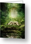 Enchanting Greeting Cards - At Sleep Greeting Card by Karen Koski
