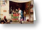 Orientalist Greeting Cards - At the Antiquarian Greeting Card by Vitorio Capobianchi