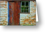 Old Doors Greeting Cards - At The Barn Greeting Card by Perry Webster