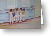 Girls Greeting Cards - At the Barre Greeting Card by Julie Todd-Cundiff