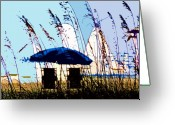 Sea Oats Digital Art Greeting Cards - At the beach Greeting Card by David Lee Thompson