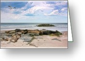 Sand And Sea Greeting Cards - At The Beach Greeting Card by Thomas York