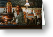 Waitresses Greeting Cards - At the Coffee Mill Greeting Card by Doug Strickland