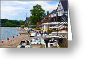 Boathouse Row Philadelphia Greeting Cards - At the Docks - Boathouse Row Greeting Card by Bill Cannon