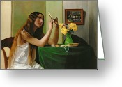 Pearls Greeting Cards - At the Dressing Table Greeting Card by Felix Edouard Vallotton
