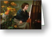Sat Painting Greeting Cards - At the Easel  Greeting Card by James N Lee