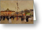 Merry-go-round Greeting Cards - At the Fair  Greeting Card by Luigi Loir