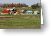 Amish Farms Greeting Cards - At The Farm Greeting Card by Lydia Warner Miller