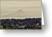 Snow-cap Greeting Cards - At the Foot of the Sleeping Giant Mt Rainer Washington State Greeting Card by James Heckt