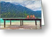 Suits Greeting Cards - At the Lake Greeting Card by Debra and Dave Vanderlaan