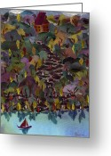 Transportation Tapestries - Textiles Greeting Cards - At the Lake Greeting Card by Marina Gershman