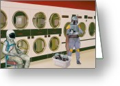 Star Greeting Cards - At the Laundromat with Boba Fett Greeting Card by Scott Listfield