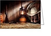 Cowboy Gun Greeting Cards - At the Old Ranch Greeting Card by Olivier Le Queinec