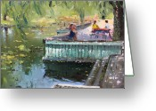 Nice Day Greeting Cards - At the Park by the Water Greeting Card by Ylli Haruni