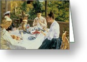 Conversation Greeting Cards - At the Tea-Table Greeting Card by Konstantin Alekseevich Korovin