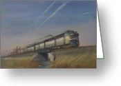 Trains Painting Greeting Cards - At Track Speed Greeting Card by Christopher Jenkins