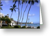 Waikiki Beach Greeting Cards - At Waikiki Beach Greeting Card by Janice Paige Chow