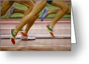 Sprinting Greeting Cards - Atheltes Running Greeting Card by Bjorn Svensson