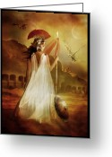 Woman Digital Art Greeting Cards - Athena Greeting Card by Karen Koski