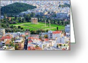 Parthenon Greeting Cards - Athens - Temple of Olympian Zeus Greeting Card by Hristo Hristov