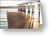 18-19 Years Greeting Cards - Athletes Holding Their Boat Upwards Greeting Card by Clerkenwell