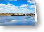 City Centre Greeting Cards - Athlone city and Shannon river Greeting Card by Gabriela Insuratelu