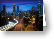 Highways Greeting Cards - Atlanta downtown by night Greeting Card by Inge Johnsson