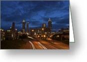 Atl Greeting Cards - Atlanta Skyline Blue Greeting Card by Brian Reeves