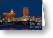 Skylines Photo Greeting Cards - Atlantic City skyline at night. Greeting Card by John Greim