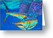 Caribbean Sea Tapestries - Textiles Greeting Cards - Atlantic Sailfish II Greeting Card by Daniel Jean-Baptiste