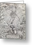 Cosmogony Greeting Cards - Atlas Cosmology, 16th Century Artwork Greeting Card by Middle Temple Library