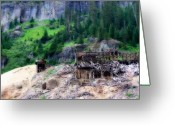 Old Mines Greeting Cards - Atlas Stamp Mill Ruins Greeting Card by Lana Trussell