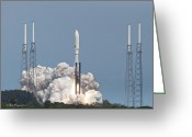 Program Greeting Cards - Atlas V Launch Greeting Card by Mike Fitzgerald