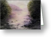 River Banks Greeting Cards - Atmosphere of the River Greeting Card by Sabina Haas