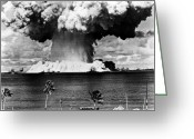Destruction Greeting Cards - Atomic Bomb Test, 1946 Greeting Card by Granger
