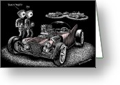 Hot Rod Drawings Greeting Cards - Atomic Weirdness Greeting Card by Bomonster